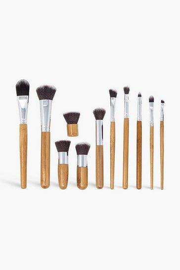 Wood brown Zoe Ayla 11 Piece Bamboo Makeup Brush
