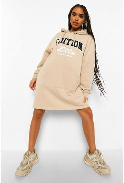 Sand beige Edition Slogan Hoodie Dress