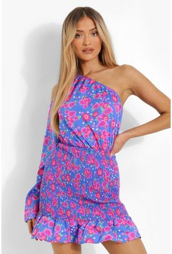 Blue Floral Print One Shoulder Shirred Mini Dress