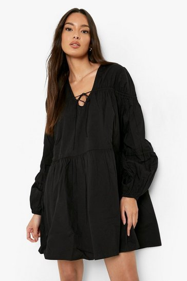 Black Tie Front 3/4 Frill Sleeve Smock Mini Dress