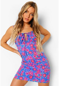 Floral Print Ruche Bust Mini Dress, Blue bleu