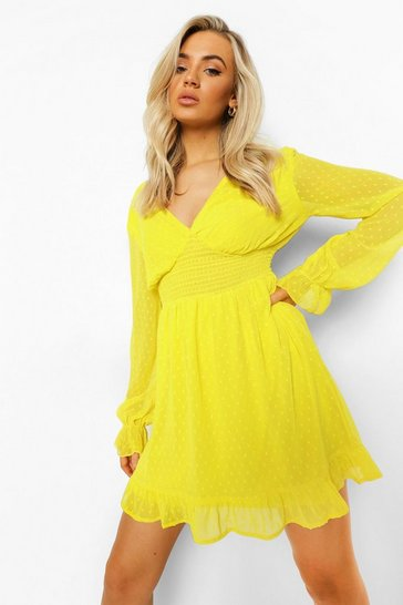 Yellow Dobby Mesh Shirred Waist V Neck Skater Dress