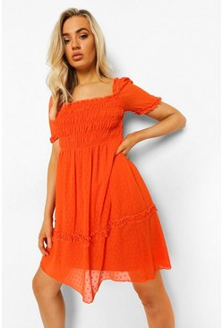 Orange Elasticated Square Neck Dobby Mesh Mini Dress