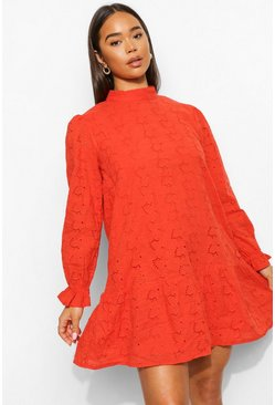 Orange High Neck Dropped Waist Eyelet Mini Dress