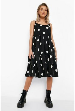 Black Polka Dot Strappy Midi Swing Dress