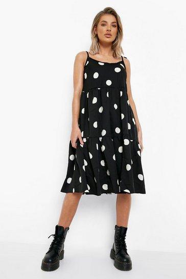 Black Polka Dot Strappy Midi Swing Dress