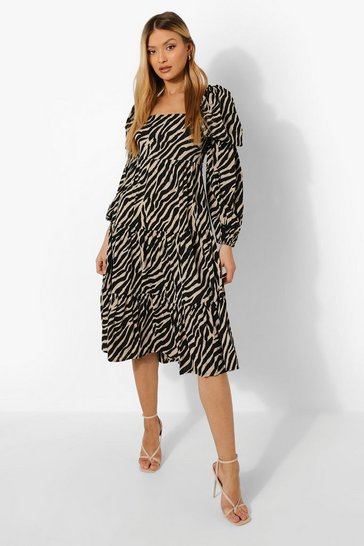 Black Zebra Puff Sleeve Tiered Tie Back Midi Dress