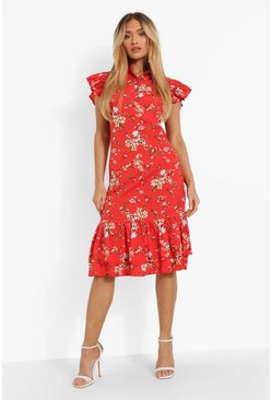 Red Floral High Neck Frill Sleeve Midi Dress