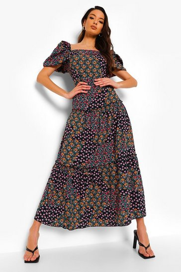 Black Floral Puff Sleeve Tiered Maxi Dress