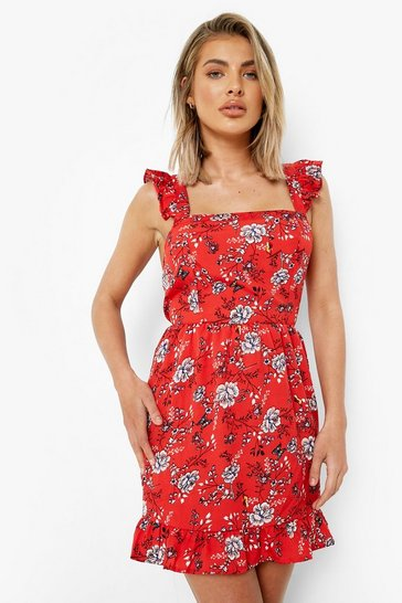 Red Frill Wide Shoulder Strap Floral Mini Dress
