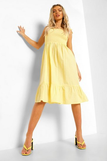 Lemon yellow Tie Strap Shirred Bust Cotton Midi Dress