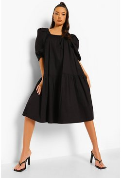 Black Cotton Puff Sleeve Dropped Hem Midi Dress