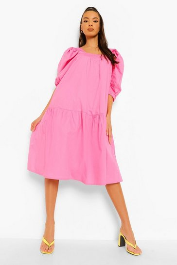 Pink Cotton Puff Sleeve Dropped Hem Midi Dress