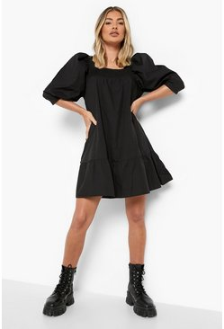 Black Cotton Puff Sleeve Dropped Hem Smock Dress