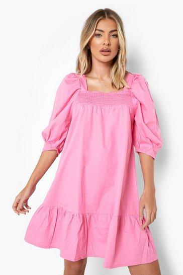 Pink Cotton Puff Sleeve Dropped Hem Smock Dress