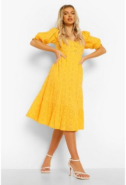Mustard yellow Tiered Broderie Button Down Midi Dress