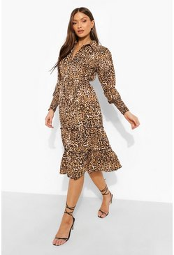 Leopard Collared Belted Tiered Midi Dress, Tan marron