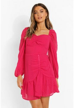Hot pink pink Dobby Mesh Long Sleeve Ruched Skater Dress
