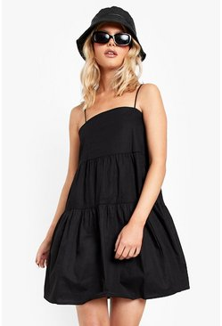 Black Strappy Tiered Cotton Smock Dress