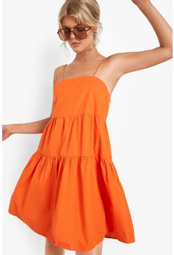 Orange Strappy Tiered Cotton Smock Dress