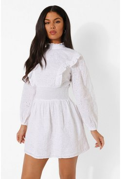 White Puff Sleeve High Neck Broderie Skater Dress