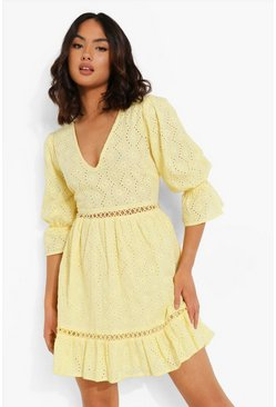Lemon yellow Broderie Lace Up Back Puff Sleeve Mini Dress