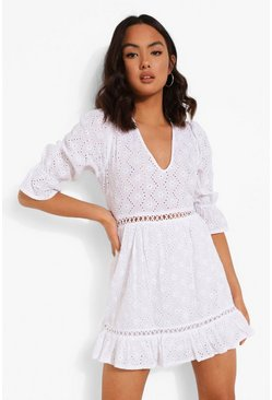 White Broderie Lace Up Back Puff Sleeve Mini Dress