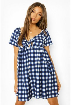 Blue Gingham Front Knotting Smock Dress