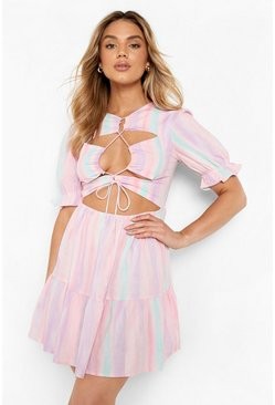 Pink Tie Dye Tie Front Cut Out Skater Dress