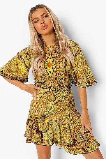Black Chain Print Ruffle Tea Dress