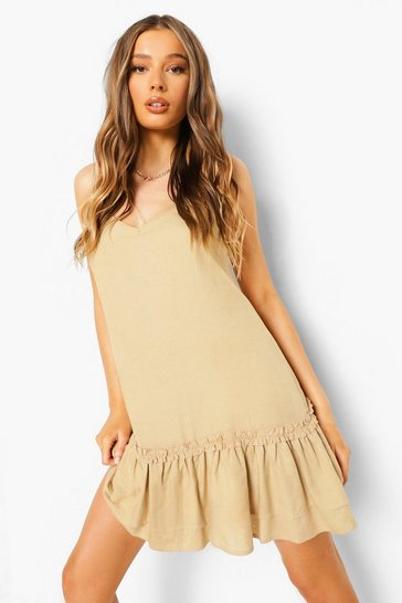 Sand beige Cami Tiered Shift Dress