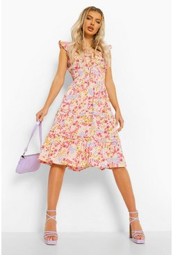 Ecru Ditsy Floral Tiered Midi Dress