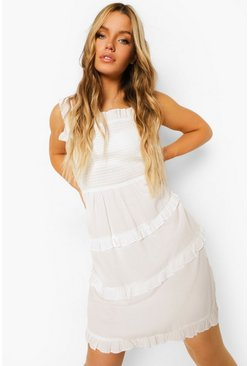 Ecru white Shirring Tiered Tie Back Skater Dress