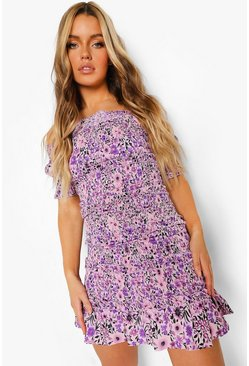 Purple Floral Bardot Shirred Frill Mini Dress