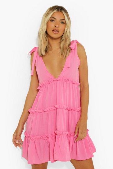 Pink Plunge Tie Strap Tiered Swing Dress