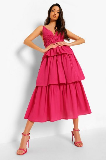 Hot pink pink Plunge Strappy Tiered Midaxi Dress