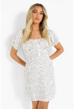 White Polka Dot Button Detail Mini Dress