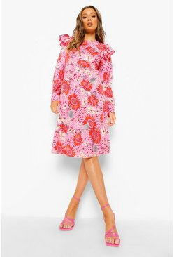 Floral Long Sleeve Frill Shoulder Midi Dress, Pink rosa