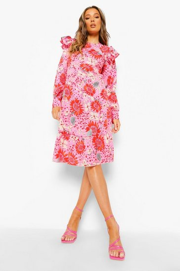 Pink Floral Long Sleeve Frill Shoulder Midi Dress