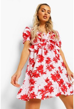 Red Ruched Bust Frill Detail Mini Tea Dress