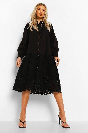 Black Dropped Waist Broderie Edge Cotton Midi Dress