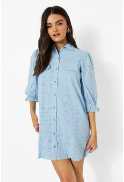 Light blue blue Open Collar Puff Sleeve Broderie Shirt Dress