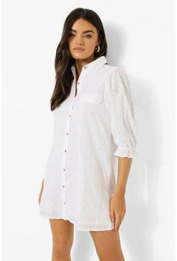 Robe chemise effet broderie à manches bouffantes, White blanc