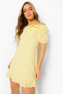 Lemon yellow Off The Shoulder Tie Neck Broderie Dress