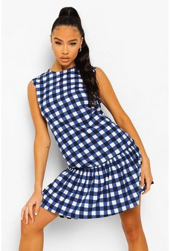 Blue Gingham Tier Sleeveless Shift Dress