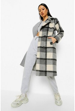 Grey Check Spliced Wool Look Coat