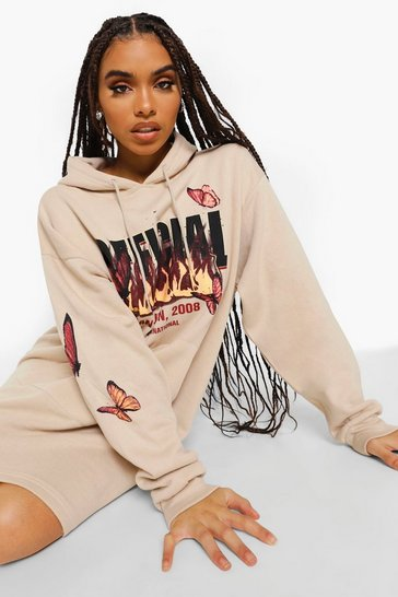 Sand beige Butterfly Flame Oversized Hoodie Dress