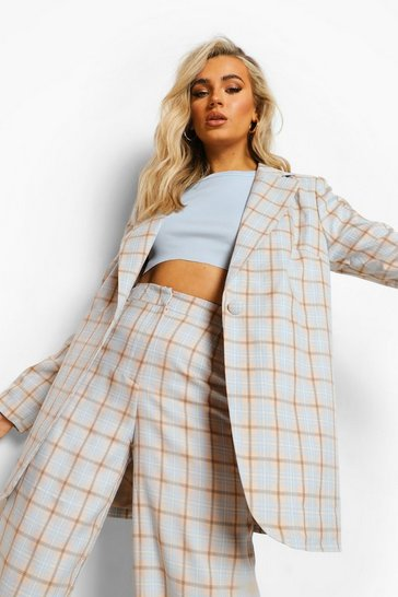 Blush pink Checked Oversized Blazer