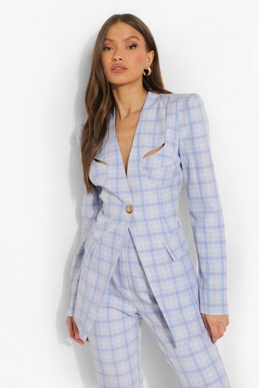 Powder blue blue Tailored Contour Checked Blazer