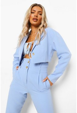 Powder blue blue Tailored Crop Blazer
